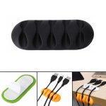 10 PCS Pasteable Five-hole TPR Wire Storage Organizer Data Cable Holder(Black)