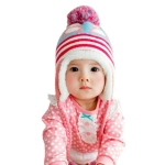 Cartoon Penguin Pattern Baby Hat Autumn And Winter Children Woolen Hat Plus Velvet Earmuffs, Suitable Age:1-2 Years Old(Pink)