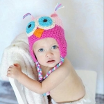 Hand-crocheted Hundred Days Baby Photography Hat Mixed Color Owl Single Hat, Size:19 x 15cm