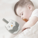 Baby Bedside Hanging Bell Sound Soothing Sleep Soft Owl Music Box Toy(White)