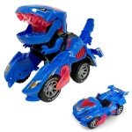 Electric Dinosaur Deformation Car Toy Universal Light Music Toy(Blue)