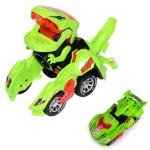 Electric Dinosaur Deformation Car Toy Universal Light Music Toy(Green)