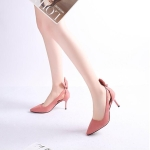 Women Shoes Bow Pointed Toe Stiletto Heels, Size:42(Pink)