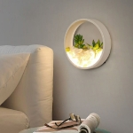 Living Room Background Wall Bedroom Bedside Round Succulent Garden Decorative Wall Lamp, Size:20 x 5 cm(White)