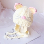 Autumn and Winter Baby Cute Cat Embroidery Pattern Knitted Wool Hat Earmuffs, Suitable Age:6-18 Months(White)