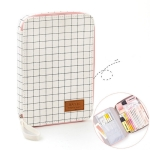 Simple Female Small Fresh Cute Large Capacity Grid Pencil Case Canvas Pencil Case Stationery, Style:IPAD Bag