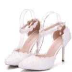 Women Shoes Lace Pearl Princess Pointed Shoes, Size:35(White 9.5 cm)
