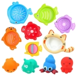 11 in 1 Bathroom Fishing Rubber Squeaky Animal Toy Stack Cup Children Bath Toy Set(Random Color Delivery)