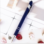 Creative Push Metal Multi-function Touch Handwriting Touch Screen Ballpoint Pen, Written:Bullet type 1.0(Navy Blue)