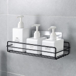 Wrought Iron Bathroom Shelf Wall Mounted Free Punch Toilet Rack(Black)