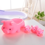 4 in 1 Pink Piggy Shaped Rubber Vocal Children Bath Toy Set