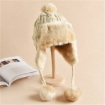 Winter Plus Velvet Knitted Wool Hat Bomber Cap Flight Hat, Size:M (56-58cm)(Beige)