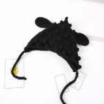 Children Handmade Wool Knitted Cartoon Ear Caps, Size:18×29cm(Black)