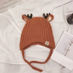 Cartoon Antlers Shape Knitted Hat Children Autumn and Winter Warm Ear Protection Hat, Suitable Age:About 5-24 Months(Caramel Colour)