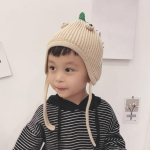 Cartoon Dinosaur Shape Baby Bomber Hat Knitting Wool Pullover Hat, Suitable Age:About 6-30 Months(Beige)