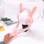 Cartoon Rabbit Ears Move Winter Warm Earmuffs Press Airbag Earmuffs, Size:One Size, Color:Rabbit Orange Pink