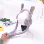 Cartoon Rabbit Ears Move Winter Warm Earmuffs Press Airbag Earmuffs, Size:One Size, Color:Rabbit Gray
