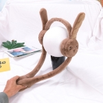 Cartoon Rabbit Ears Move Winter Warm Earmuffs Press Airbag Earmuffs, Size:One Size, Color:Rabbit Brown