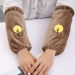 Long Cartoon Tree Pattern Home Cuffs Kitchen Anti-fouling Sleeves(Brown)