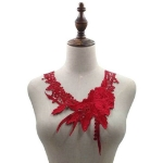 Lace Flower Embroidered Collar Fake Collar Clothing Accessories, Size: 31 x 30cm, Color:Red Wine