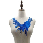 Lace Flower Embroidered Collar Fake Collar Clothing Accessories, Size: 31 x 30cm, Color:Blue