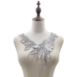 Lace Flower Embroidered Collar Fake Collar Clothing Accessories, Size: 31 x 30cm, Color:Gray