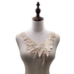 Lace Flower Embroidered Collar Fake Collar Clothing Accessories, Size: 31 x 30cm, Color:Beige