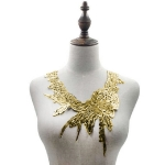 Lace Flower Embroidered Collar Fake Collar Clothing Accessories, Size: 31 x 30cm, Color:Gold