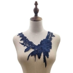 Lace Flower Embroidered Collar Fake Collar Clothing Accessories, Size: 31 x 30cm, Color:Navy