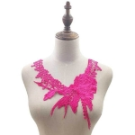 Lace Flower Embroidered Collar Fake Collar Clothing Accessories, Size: 31 x 30cm, Color:Rose Red