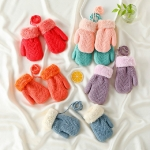 Imitation Cashmere Knitted Warm Children Gloves Double Velvet Thick Halter Gloves, Suitable Age:1-5 Years Old(Color Random Delivery)