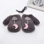 Winter Cartoon Cloud Moon Thickened Warm Children Gloves Mittens Halter Gloves, Suitable Age:About 4-7 Years Old(Gray)