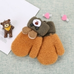Cartoon Bear Shape Knitted Wool Double Layer Plus Velvet Thick Warm Children Gloves Mittens, Suitable Age:0-3 Years Old(Yellow)