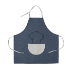 Antifouling Oil-proof Thick Cooking Apron Painting Work Clothes with Semicircle Pocket(Navy)
