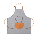 Antifouling Oil-proof Thick Cooking Apron Painting Work Clothes with Semicircle Pocket(Grey)
