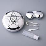 Portable Beauty Lens Care Double Box Contact Lens Case(Silver)