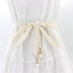 Ladies Lace Cloth Ribbon Belt with Pearl Pendant, Size: 160 x 2.5cm(Beige)