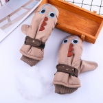 Children Non-slip Waterproof and Warm Gloves Comfortable Warm Plus Velvet Lanyard Gloves, Suitable Age:4-8 Years Old(Brown)