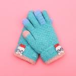 Winter Ski Gloves Cartoon Animal Knitted Wool Warm Finger Gloves Children Gloves, Size:One Size(Pea Green)
