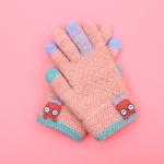 Winter Ski Gloves Cartoon Animal Knitted Wool Warm Finger Gloves Children Gloves, Size:One Size(Hide Pink)