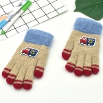 Cartoon Car Pattern Plus Velvet Thick Double Layer Warm Children Gloves Knitted Wool Finger Gloves(Khaki)