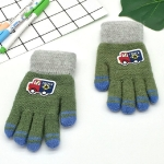 Cartoon Car Pattern Plus Velvet Thick Double Layer Warm Children Gloves Knitted Wool Finger Gloves(Army Green)