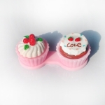Cartoon Cute Cream Cake Glasses Double Box Contact Lenses Couple Box(Pink)