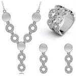 Fashion Crystal Women Circle Rhinestone Necklace Earrings Ring Set(Silver)