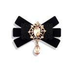 Unisex Flannel Bow-knot Bow Tie Retro Diamond Professional Brooch Clothing Accessories(Black)