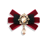 Unisex Flannel Bow-knot Bow Tie Retro Diamond Professional Brooch Clothing Accessories(Red Wine)