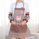 Kitchen Oilproof Cartoon Bear Apron with Sleeve(Brown)