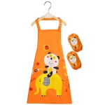 Cartoon Bear Waterproof Apron Disposable Wash Clothes for Children with Oversleeve(Orange)