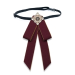 Unisex Pearl Bow-knot Cloth Bow Tie Brooch Clothing Accessories, Style:Tie Belts Version(Red Wine)