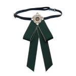 Unisex Pearl Bow-knot Cloth Bow Tie Brooch Clothing Accessories, Style:Tie Belts Version(Army Green)